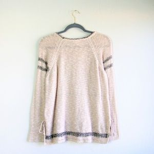 Knox Rose Sweaters - Knox Rose blush lace up pullover sweater